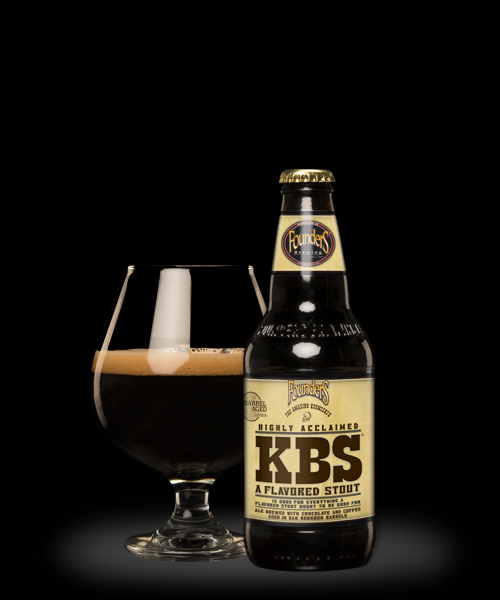 Founders KBS in a bottle and poured in a beer glass
