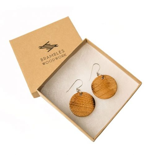 Brambles Woodwork box with pair of wood earrings