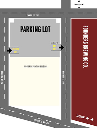 Founders parking at Grand Rapids taproom