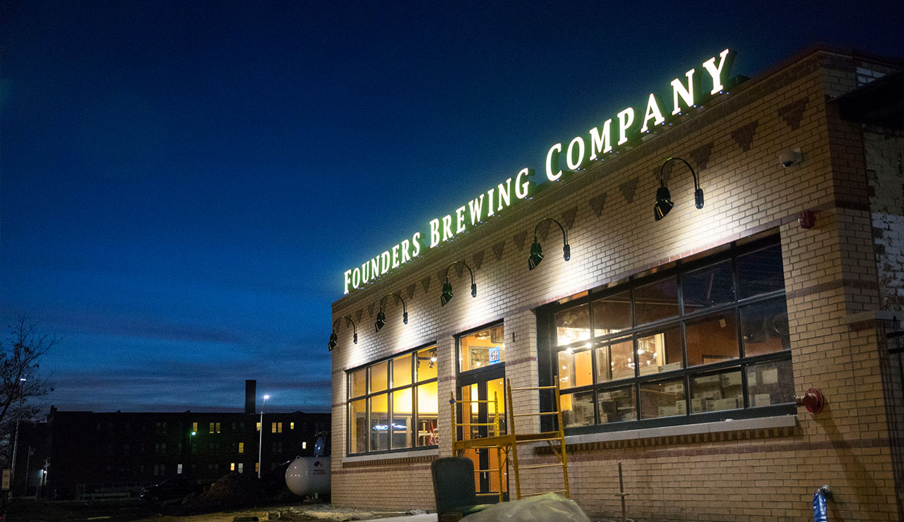 Outside view of the Founders Detroit taproom