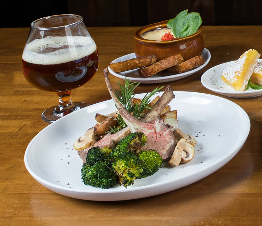 Plates of food and beer