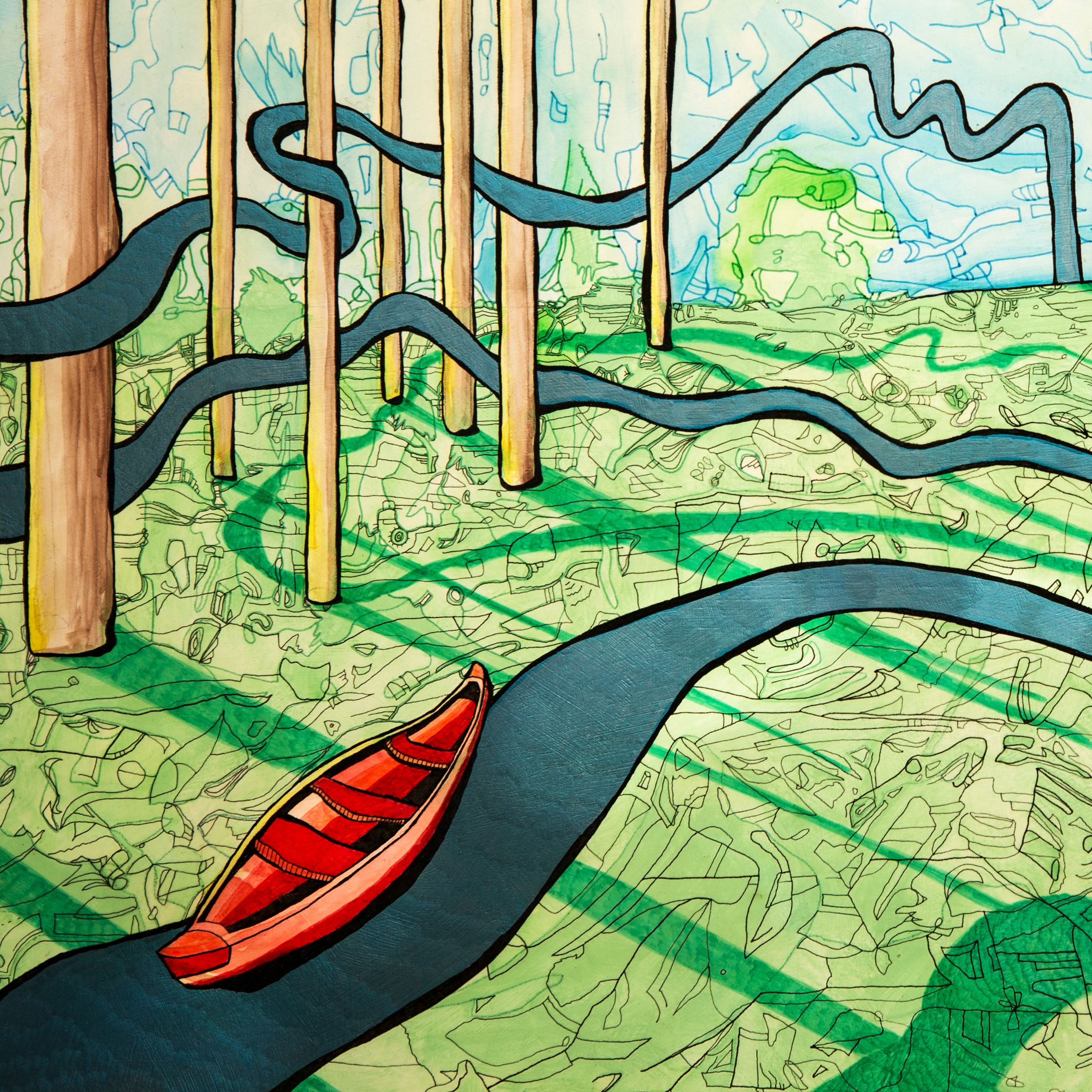 Hand drawn picture of canoe going down river