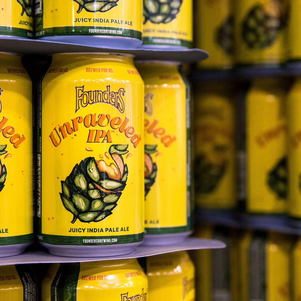 Cans of Founders Unraveled IPA