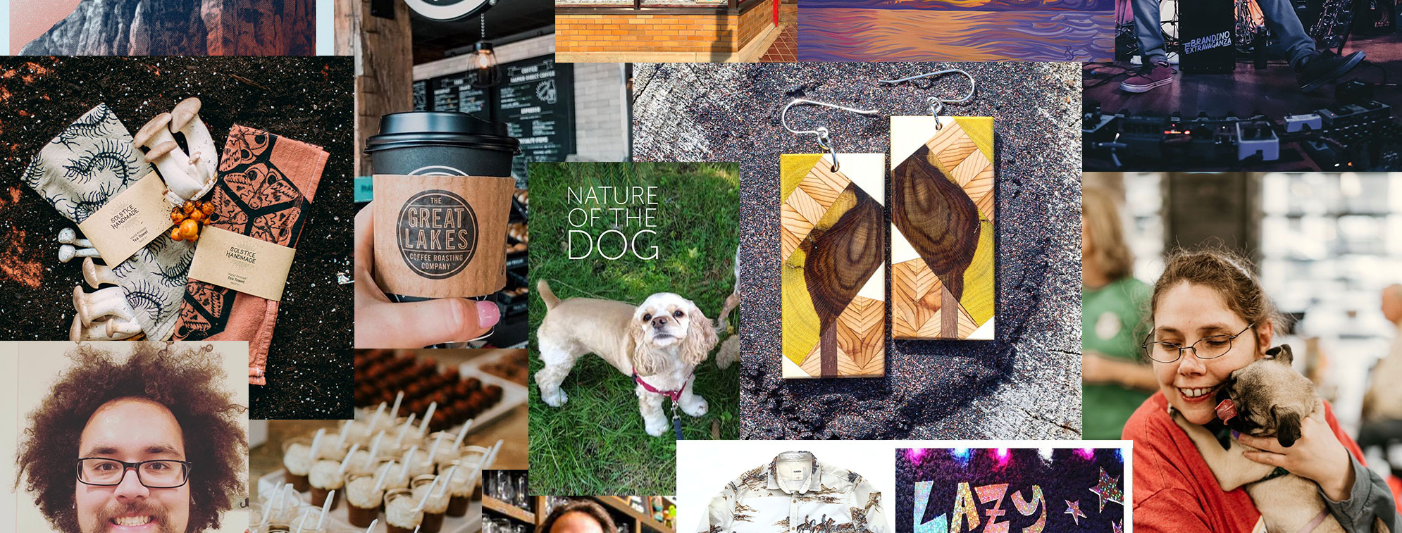 Collage of a couple dogs, earrings, coffee, desserts all crafted in Michigan