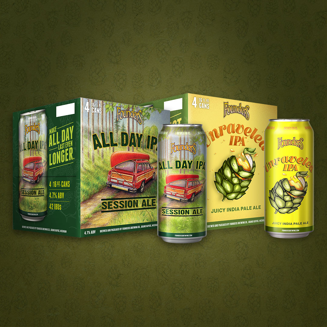 all day ipa and unraveled ipa 4-packs of 16oz cans