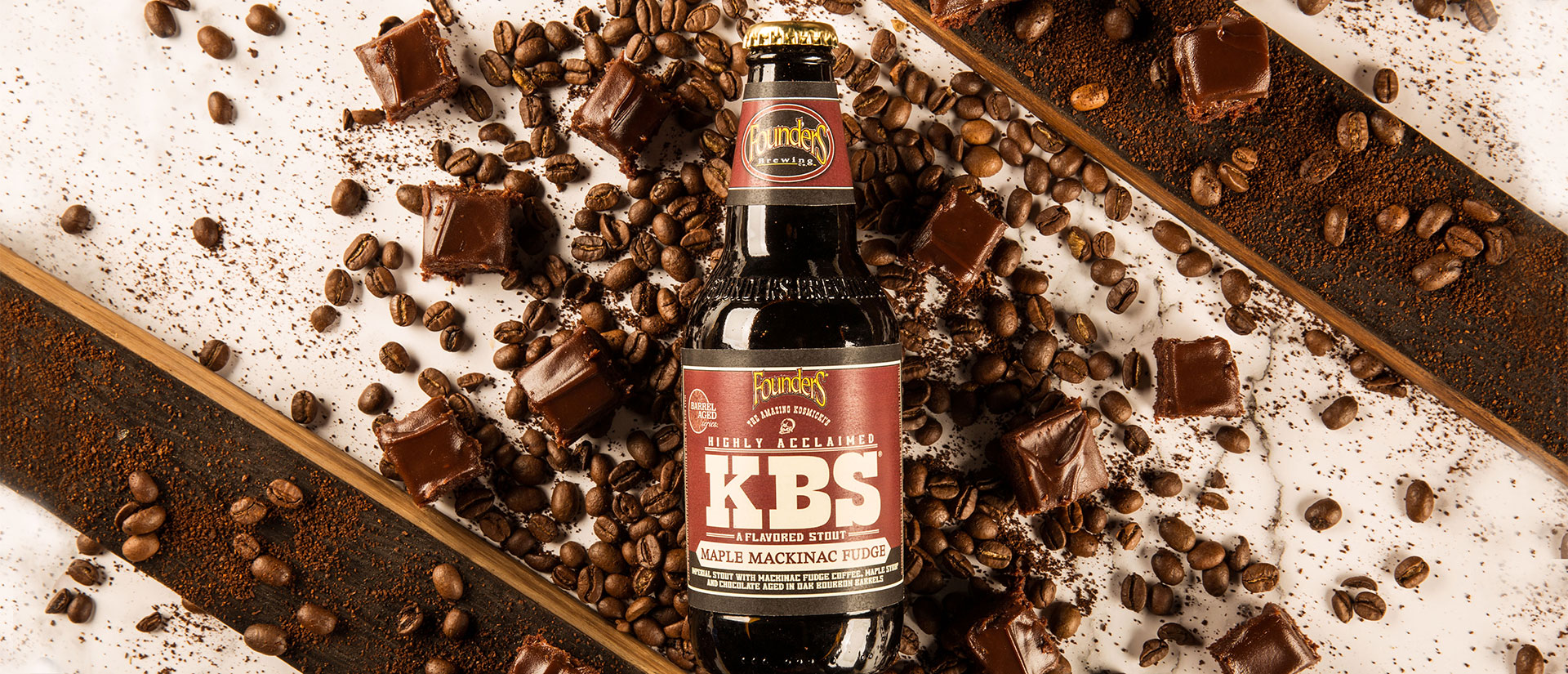 kbs mackinac maple fudge bottle with coffee beans
