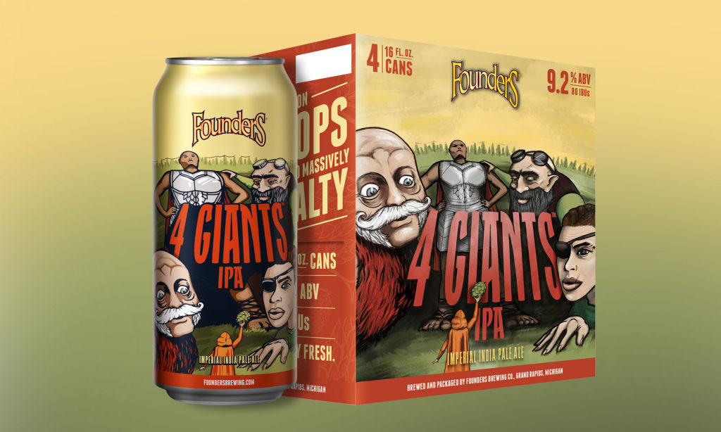 4giants 16oz can next to 4-pack of 16oz cans