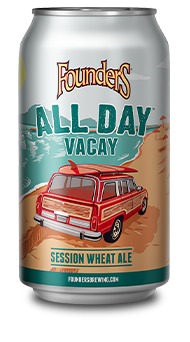 All Day Vacay Can With Woodie Wagon driving down the beach