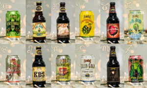 different beer bottles and cans paired with astrological signs