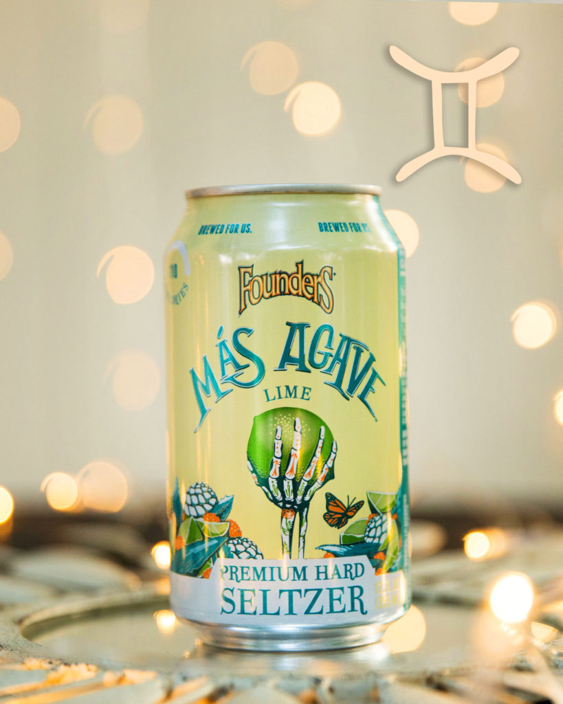 mas agave seltzer can with gemini sign